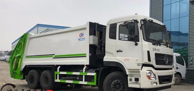 深圳国六排放东风天龙压缩垃圾车几个档_郑州压缩式对接垃圾车